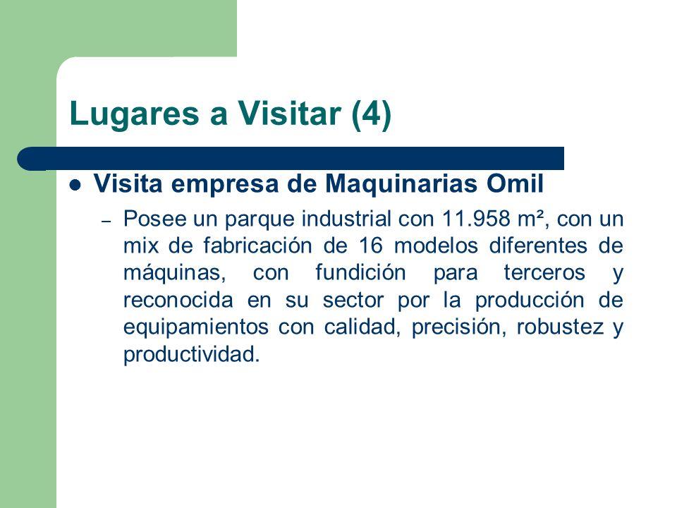 Lugares a Visitar (4) Visita empresa de Maquinarias Omil – Posee un parque industrial con 11.958 m², con un mix de fabricación de 16 modelos diferente