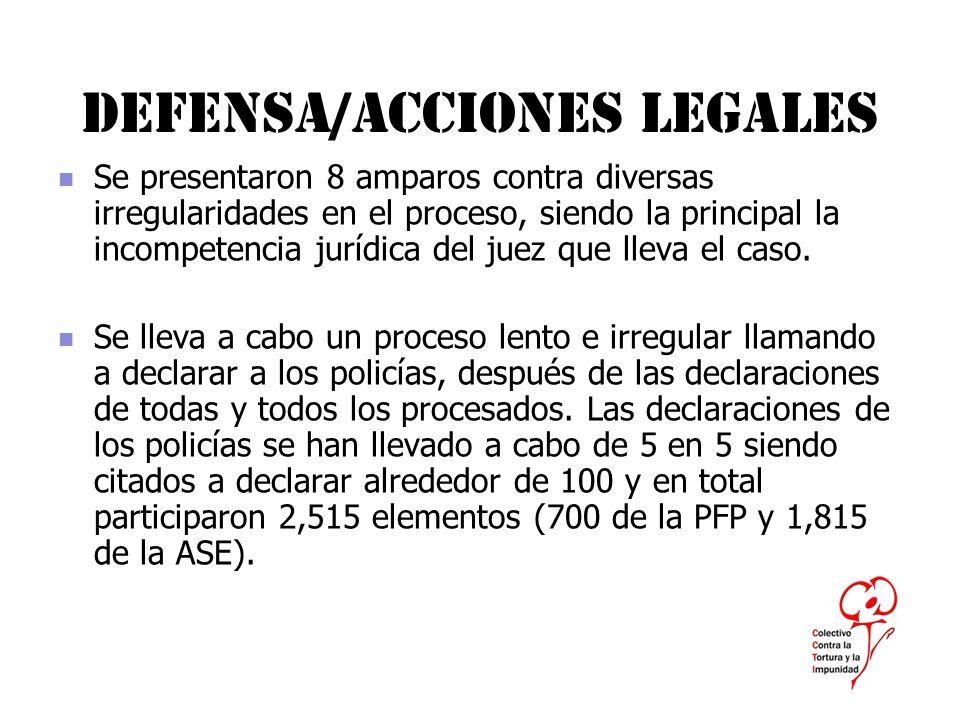 Defensa/acciones legales Se presentaron 8 amparos contra diversas irregularidades en el proceso, siendo la principal la incompetencia jurídica del jue