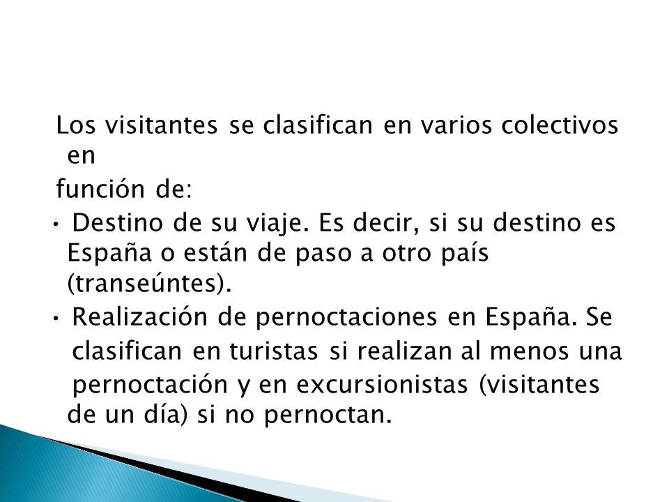 Los visitantes se clasifican en varios colectivos en función de: Destino de su viaje. Es decir, si su destino es España o están de paso a otro país (t