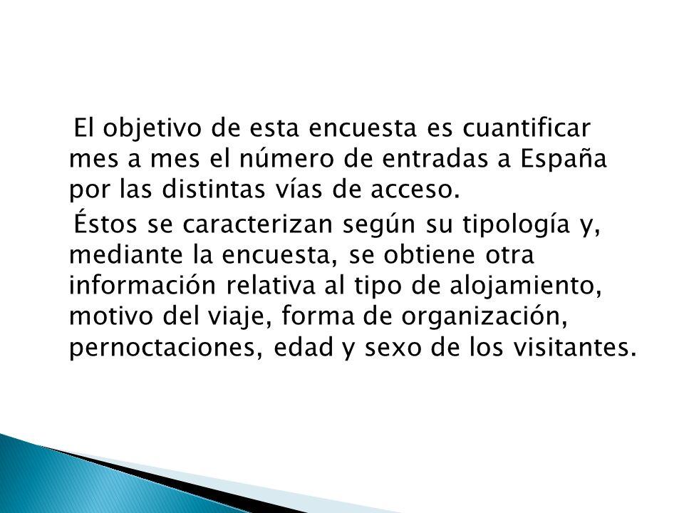 El objetivo de esta encuesta es cuantificar mes a mes el número de entradas a España por las distintas vías de acceso. Éstos se caracterizan según su