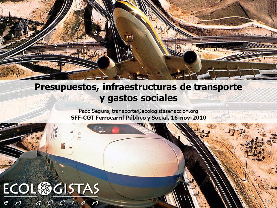 Presupuestos, infraestructuras de transporte y gasto social,1 Presupuestos, infraestructuras de transporte y gastos sociales Paco Segura, transporte@ecologistasenaccion.org SFF-CGT Ferrocarril Público y Social, 16-nov-2010