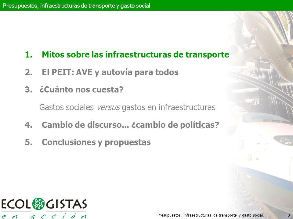 Presupuestos, infraestructuras de transporte y gasto social,14 Presupuestos, infraestructuras de transporte y gasto social