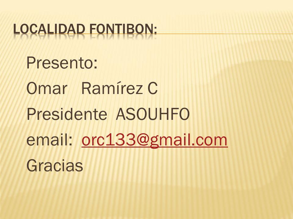 Presento: Omar Ramírez C Presidente ASOUHFO email: orc133@gmail.comorc133@gmail.com Gracias