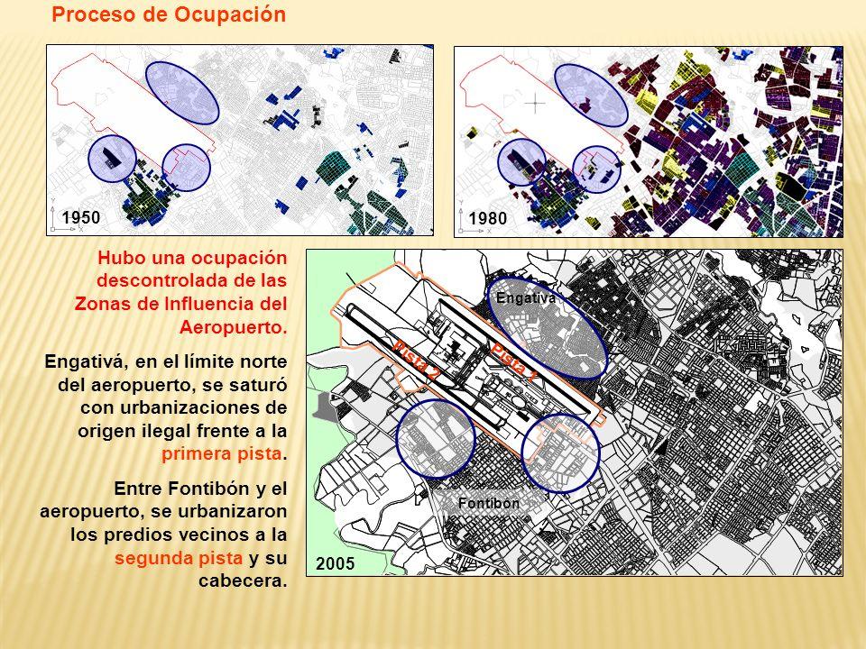 1950 1980 2005 Hubo una ocupación descontrolada de las Zonas de Influencia del Aeropuerto. Engativá, en el límite norte del aeropuerto, se saturó con
