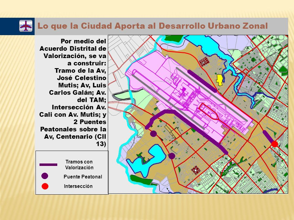 Lo que la Ciudad Aporta al Desarrollo Urbano Zonal Por medio del Acuerdo Distrital de Valorización, se va a construir: Tramo de la Av, José Celestino