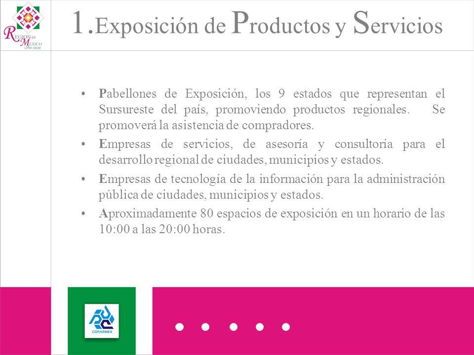 Pabellones de Exposición, los 9 estados que representan el Sursureste del país, promoviendo productos regionales.