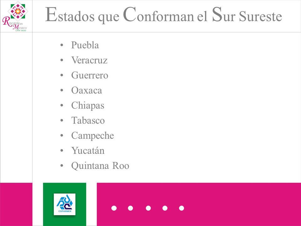 Puebla Veracruz Guerrero Oaxaca Chiapas Tabasco Campeche Yucatán Quintana Roo E stados que C onforman el S ur Sureste