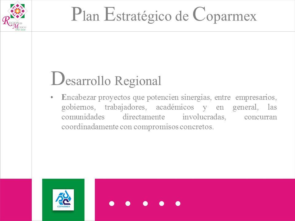 P lan E stratégico de C oparmex D esarrollo Regional Encabezar proyectos que potencien sinergias, entre empresarios, gobiernos, trabajadores, académicos y en general, las comunidades directamente involucradas, concurran coordinadamente con compromisos concretos.