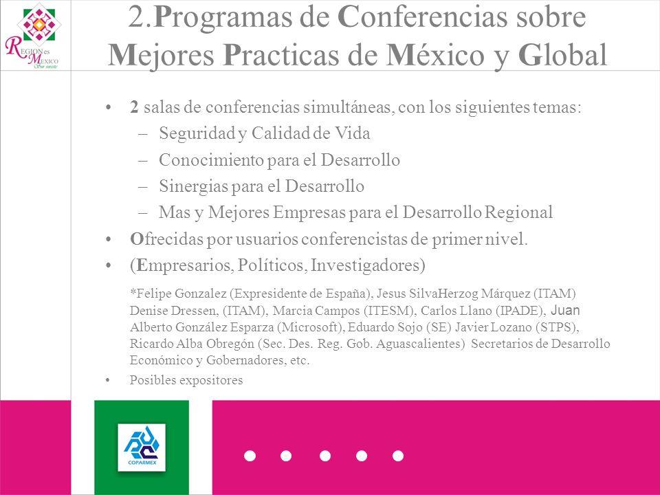 2 salas de conferencias simultáneas, con los siguientes temas: –Seguridad y Calidad de Vida –Conocimiento para el Desarrollo –Sinergias para el Desarrollo –Mas y Mejores Empresas para el Desarrollo Regional Ofrecidas por usuarios conferencistas de primer nivel.