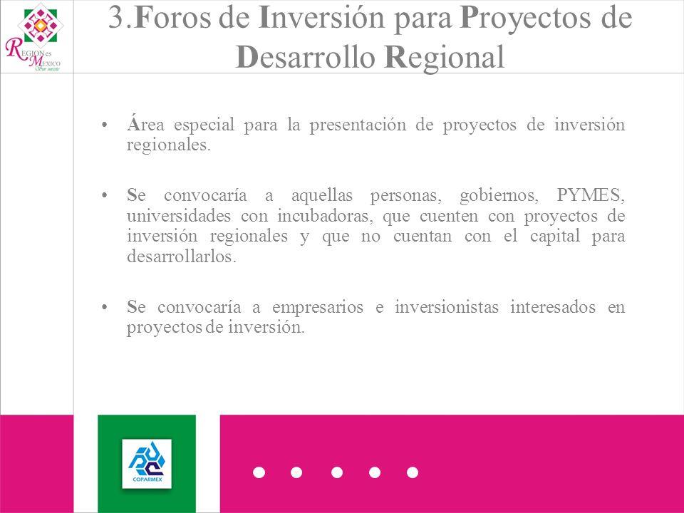 3.Foros de Inversión para Proyectos de Desarrollo Regional Área especial para la presentación de proyectos de inversión regionales.