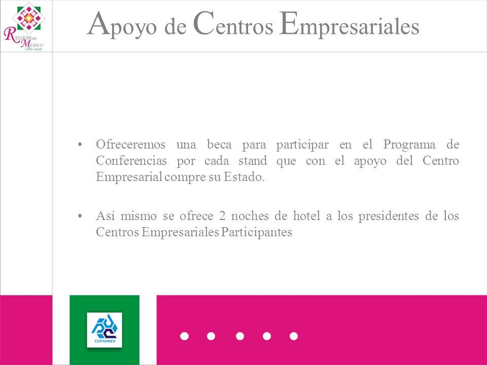 Ofreceremos una beca para participar en el Programa de Conferencias por cada stand que con el apoyo del Centro Empresarial compre su Estado.