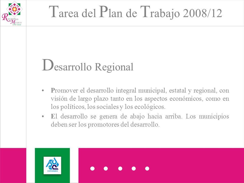 T area del P lan de T rabajo 2008/12 D esarrollo Regional Promover el desarrollo integral municipal, estatal y regional, con visión de largo plazo tanto en los aspectos económicos, como en los políticos, los sociales y los ecológicos.