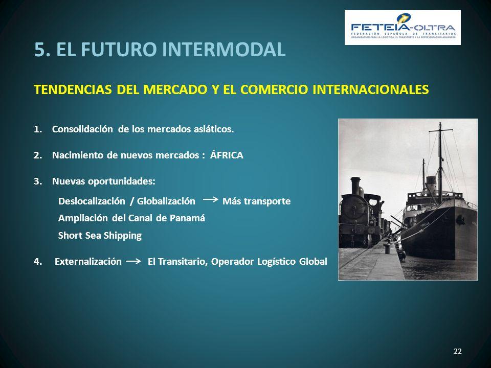 5. EL FUTURO INTERMODAL TENDENCIAS DEL MERCADO Y EL COMERCIO INTERNACIONALES 22 1.Consolidación de los mercados asiáticos. 2.Nacimiento de nuevos merc