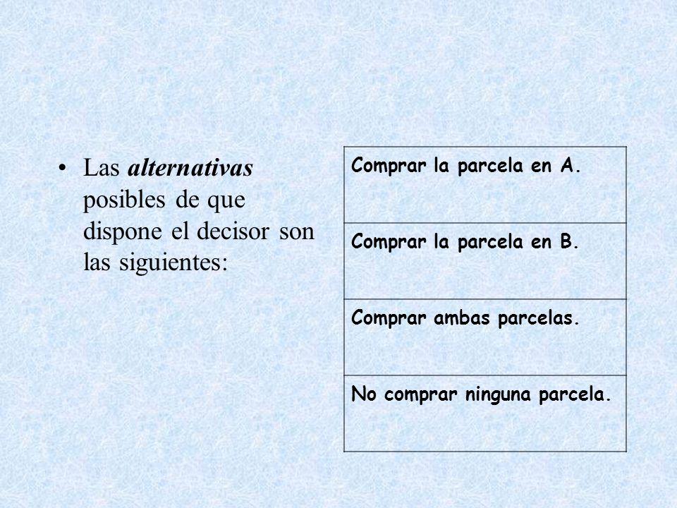 Las alternativas posibles de que dispone el decisor son las siguientes: Comprar la parcela en A. Comprar la parcela en B. Comprar ambas parcelas. No c