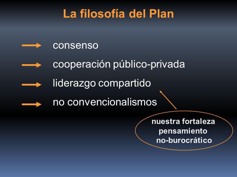 La filosofía del Plan consenso cooperación público-privada liderazgo compartido no convencionalismos nuestra fortaleza pensamiento no-burocrático