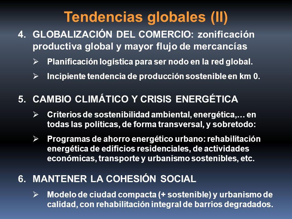 Tendencias globales (II) 4.GLOBALIZACIÓN DEL COMERCIO: zonificación productiva global y mayor flujo de mercancías Planificación logística para ser nod