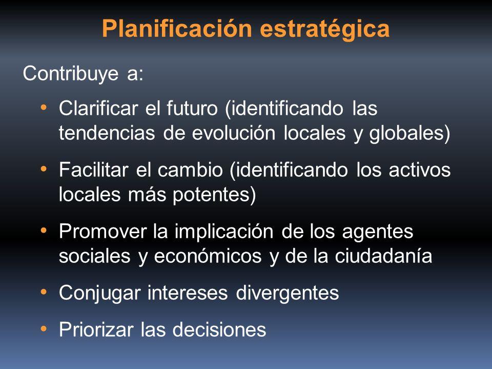 Clarificar el futuro (identificando las tendencias de evolución locales y globales) Facilitar el cambio (identificando los activos locales más potente