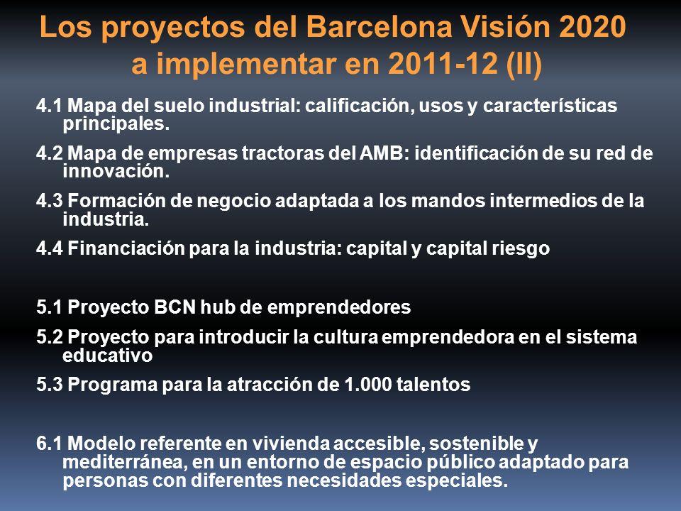 Los proyectos del Barcelona Visión 2020 a implementar en 2011-12 (II) 4.1 Mapa del suelo industrial: calificación, usos y características principales.