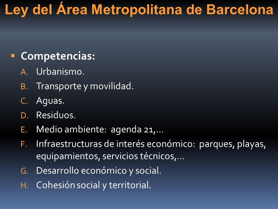 Ley del Área Metropolitana de Barcelona Competencias: A. Urbanismo. B. Transporte y movilidad. C. Aguas. D. Residuos. E. Medio ambiente: agenda 21,...