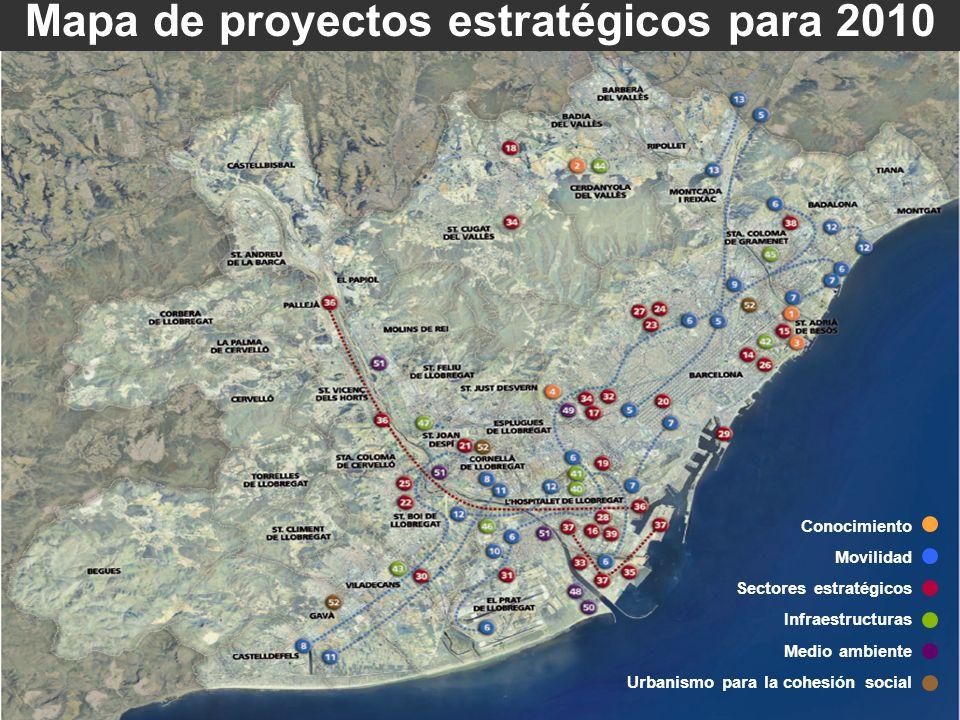 Mapa de proyectos estratégicos para 2010 Conocimiento Movilidad Sectores estratégicos Infraestructuras Medio ambiente Urbanismo para la cohesión socia