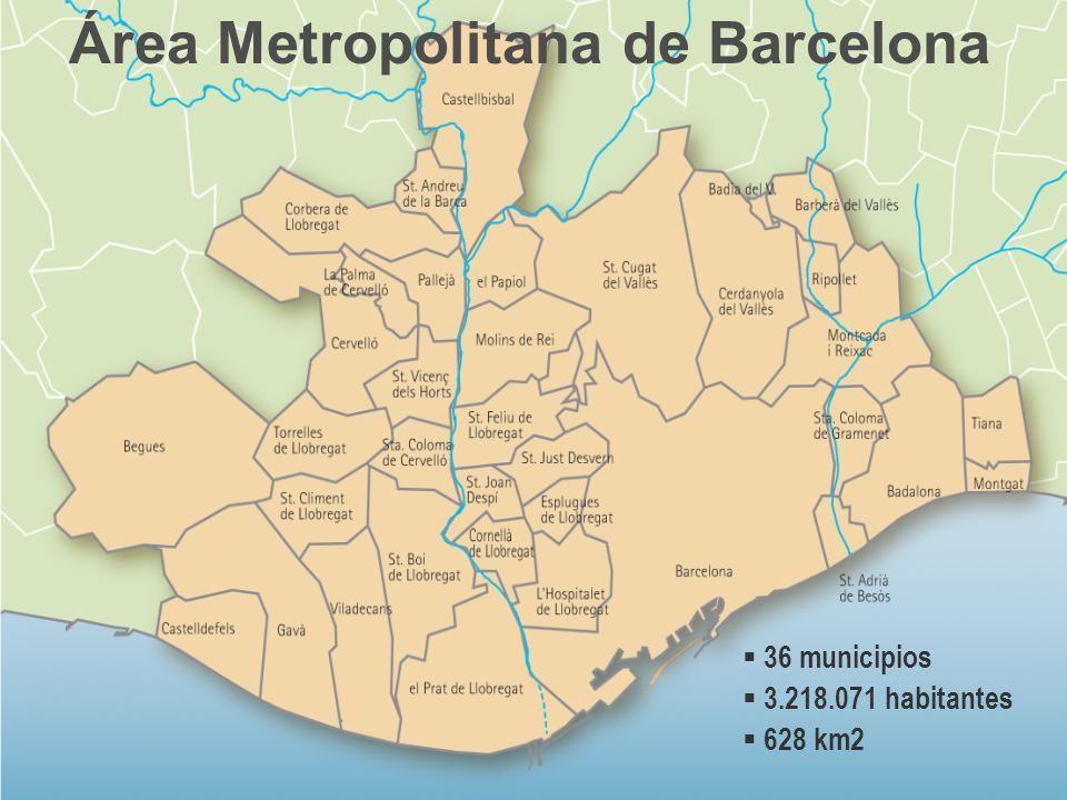 Área Metropolitana de Barcelona 36 municipios 3.218.071 habitantes 628 km2