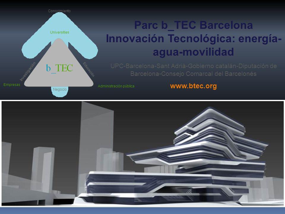 Parc b_TEC Barcelona Innovación Tecnológica: energía- agua-movilidad UPC-Barcelona-Sant Adrià-Gobierno catalán-Diputación de Barcelona-Consejo Comarca
