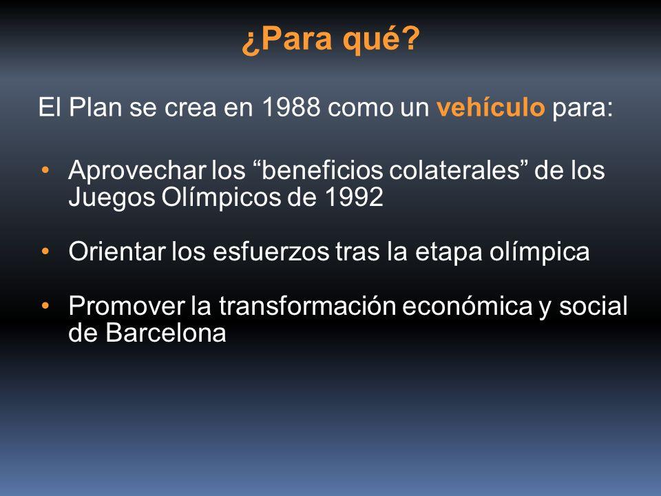 El Plan se crea en 1988 como un vehículo para: Aprovechar los beneficios colaterales de los Juegos Olímpicos de 1992 Orientar los esfuerzos tras la et