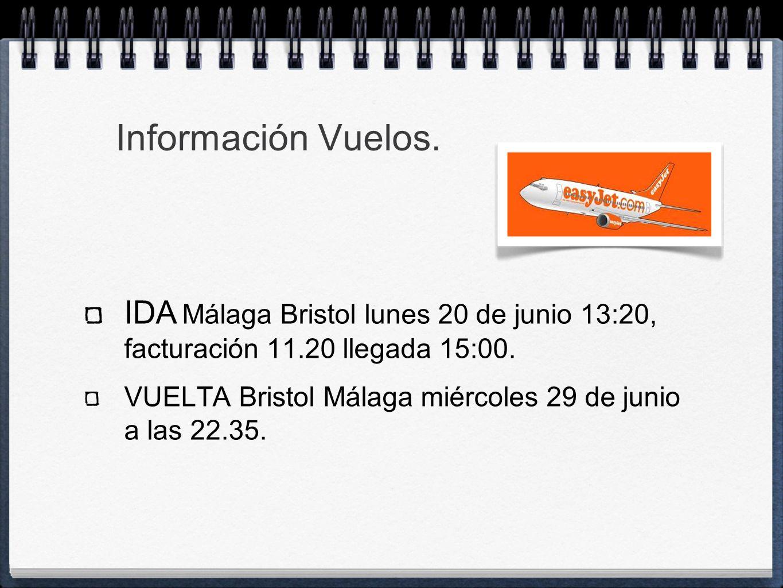 Información Vuelos. IDA Málaga Bristol lunes 20 de junio 13:20, facturación 11.20 llegada 15:00.