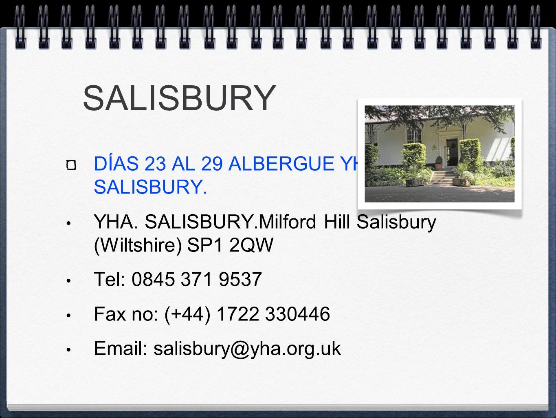 SALISBURY DÍAS 23 AL 29 ALBERGUE YHA SALISBURY. YHA.