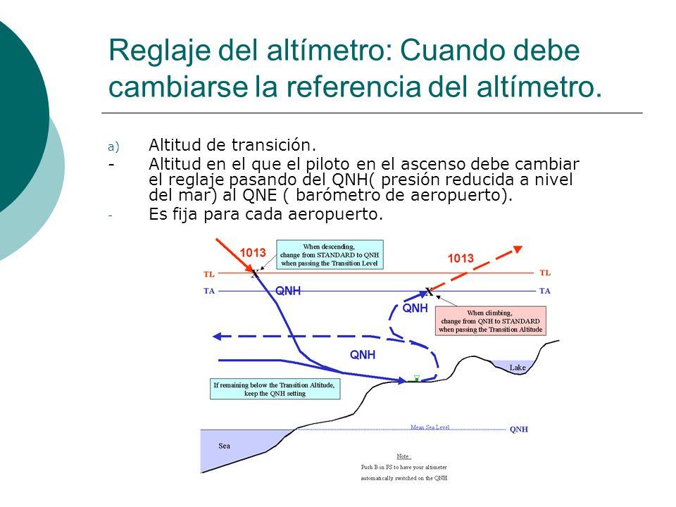 Reglaje del altímetro: Cuando debe cambiarse la referencia del altímetro. a) Altitud de transición. -Altitud en el que el piloto en el ascenso debe ca