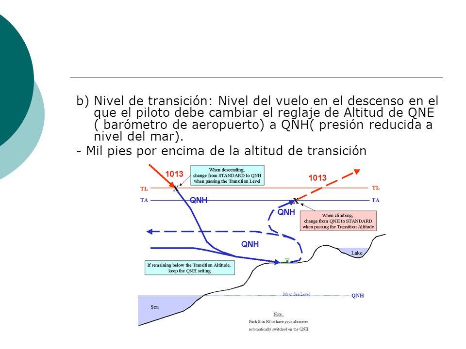 b) Nivel de transición: Nivel del vuelo en el descenso en el que el piloto debe cambiar el reglaje de Altitud de QNE ( barómetro de aeropuerto) a QNH(