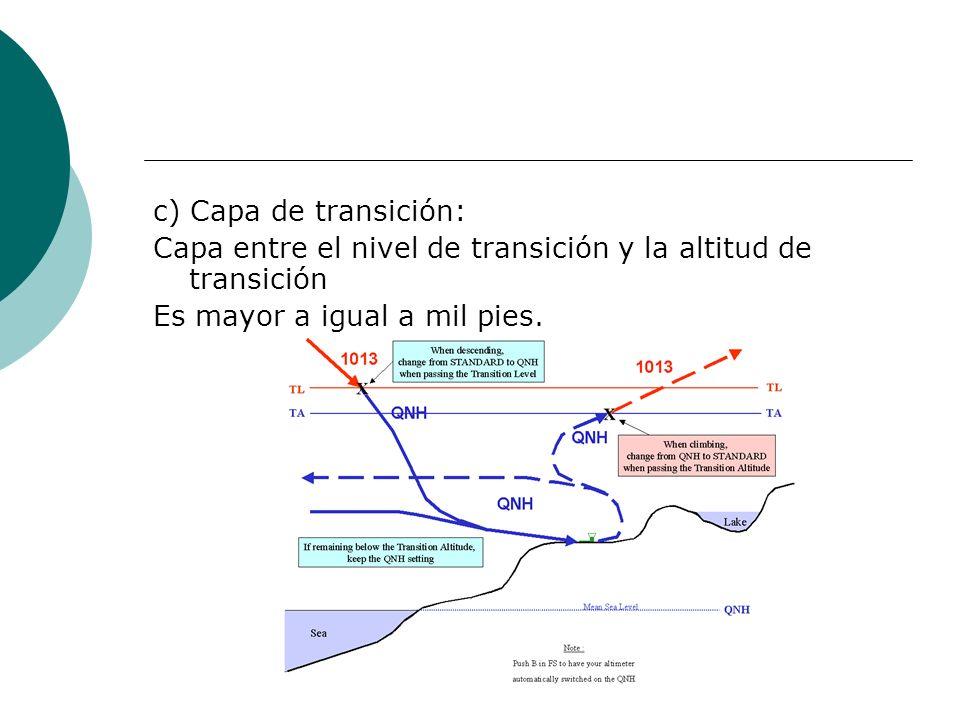 c) Capa de transición: Capa entre el nivel de transición y la altitud de transición Es mayor a igual a mil pies.
