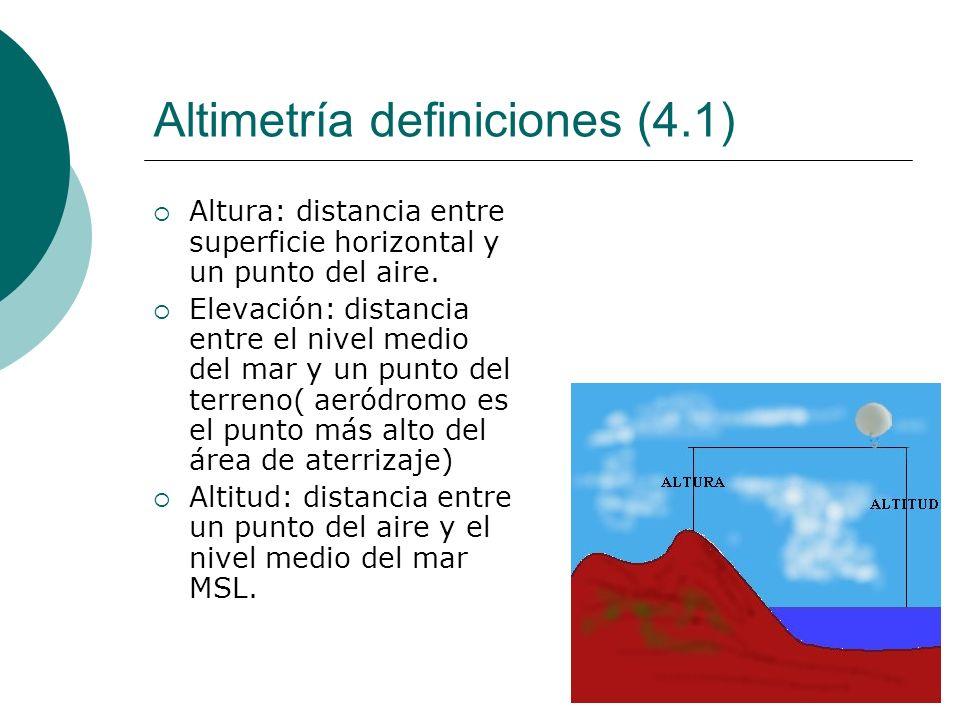 Altimetría definiciones (4.1) Altura: distancia entre superficie horizontal y un punto del aire. Elevación: distancia entre el nivel medio del mar y u