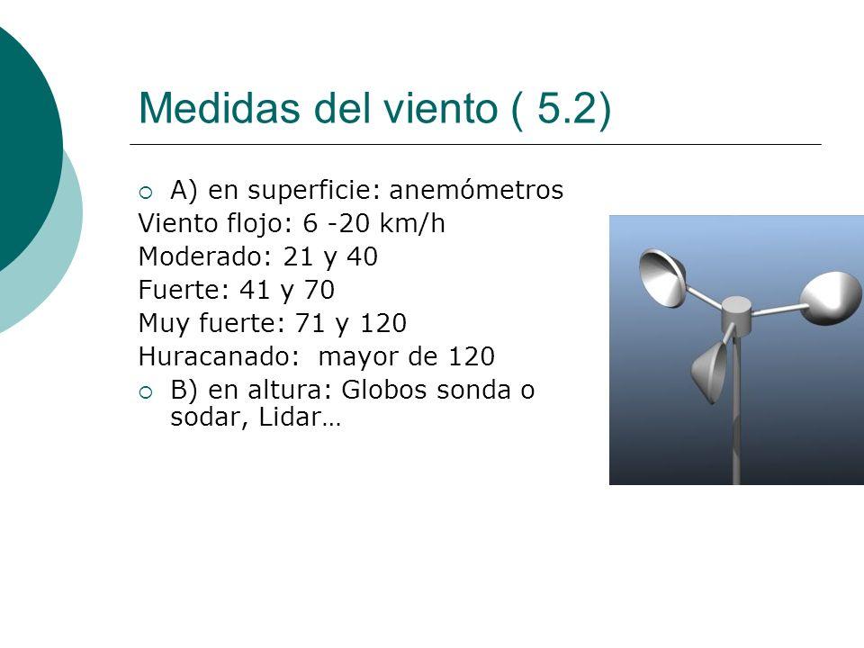 Medidas del viento ( 5.2) A) en superficie: anemómetros Viento flojo: 6 -20 km/h Moderado: 21 y 40 Fuerte: 41 y 70 Muy fuerte: 71 y 120 Huracanado: ma