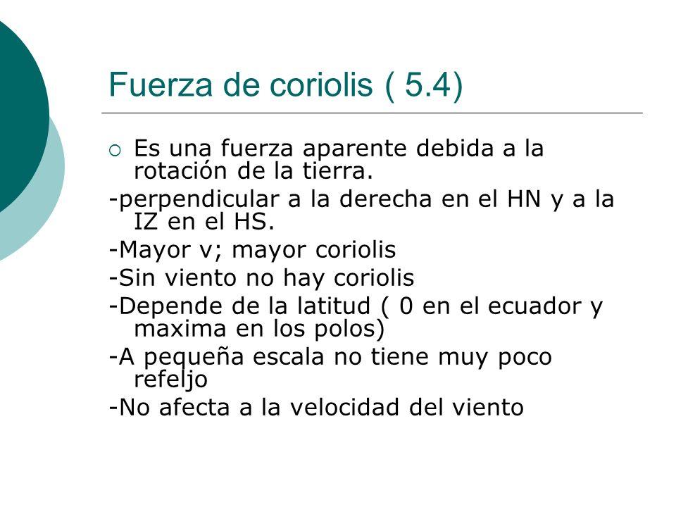 Fuerza de coriolis ( 5.4) Es una fuerza aparente debida a la rotación de la tierra. -perpendicular a la derecha en el HN y a la IZ en el HS. -Mayor v;