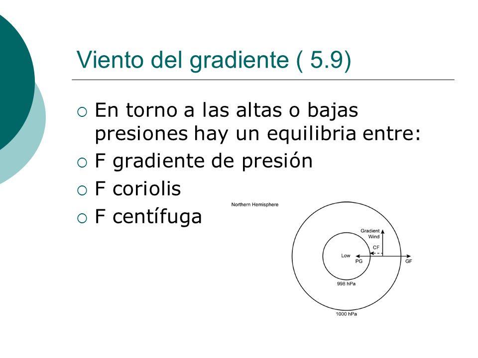 Viento del gradiente ( 5.9) En torno a las altas o bajas presiones hay un equilibria entre: F gradiente de presión F coriolis F centífuga