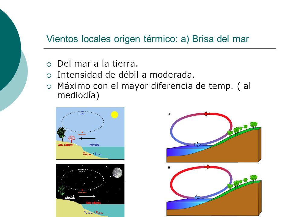 Vientos locales origen térmico: a) Brisa del mar Del mar a la tierra. Intensidad de débil a moderada. Máximo con el mayor diferencia de temp. ( al med