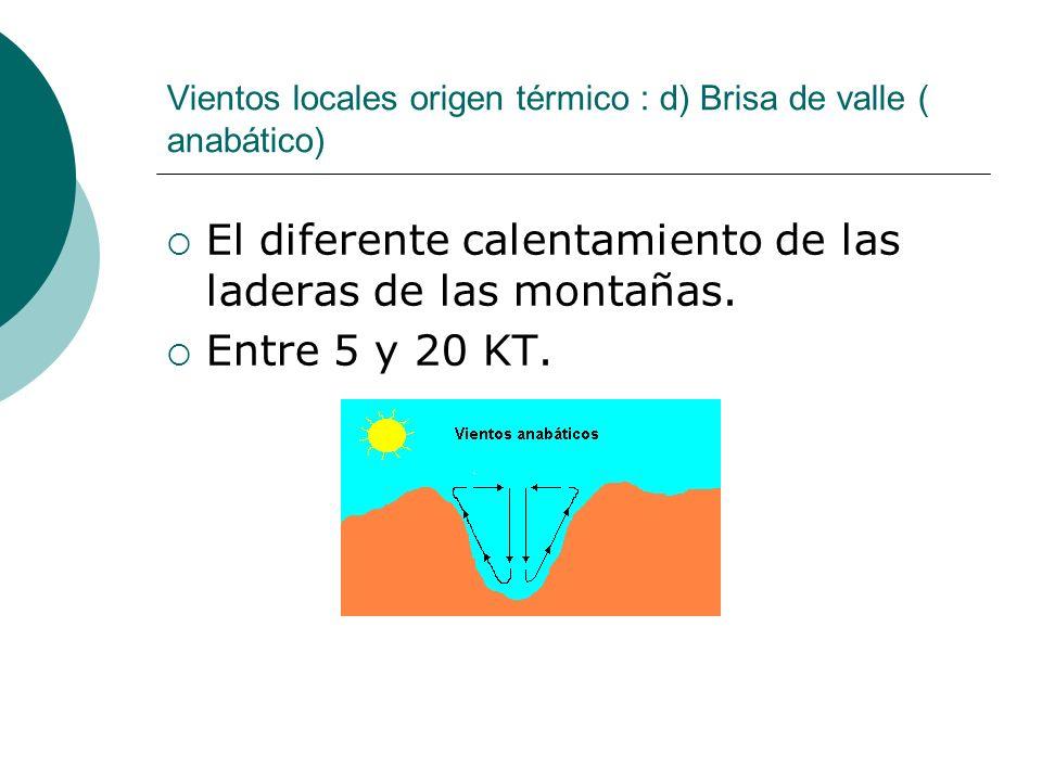Vientos locales origen térmico : d) Brisa de valle ( anabático) El diferente calentamiento de las laderas de las montañas. Entre 5 y 20 KT.