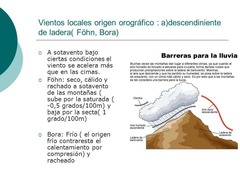 Vientos locales origen orográfico : a)descendiniente de ladera( Föhn, Bora) A sotavento bajo ciertas condiciones el viento se acelera más que en las c