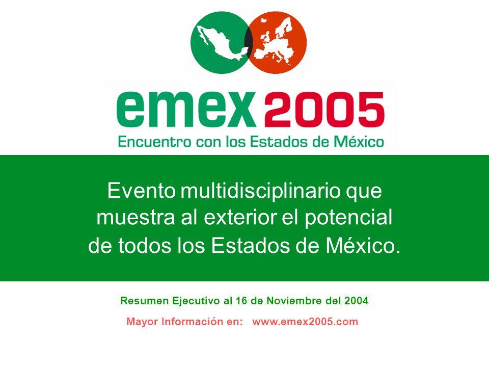 Evento multidisciplinario que muestra al exterior el potencial de todos los Estados de México. Resumen Ejecutivo al 16 de Noviembre del 2004 Mayor Inf