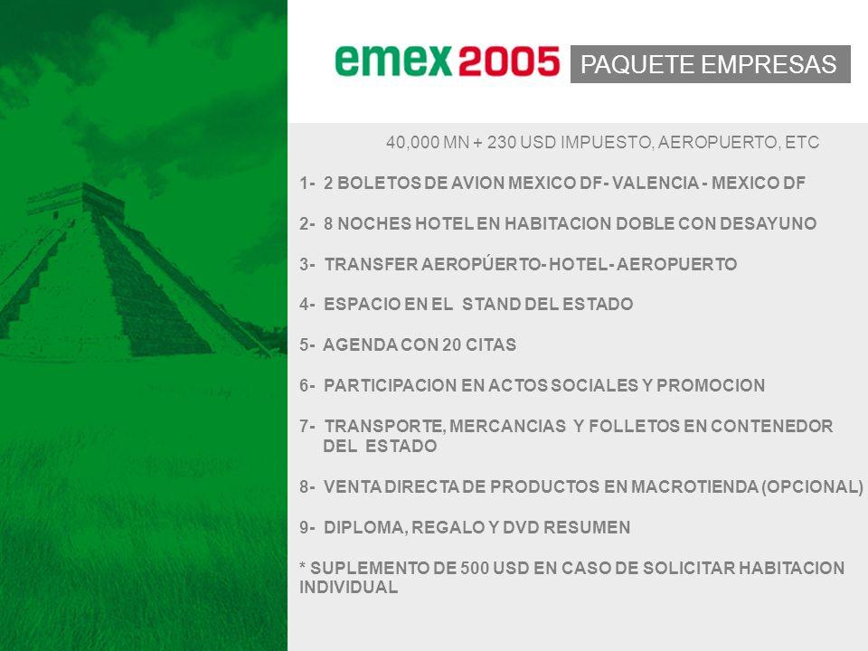 2005 PAQUETE EMPRESAS 40,000 MN + 230 USD IMPUESTO, AEROPUERTO, ETC 1- 2 BOLETOS DE AVION MEXICO DF- VALENCIA - MEXICO DF 2- 8 NOCHES HOTEL EN HABITACION DOBLE CON DESAYUNO 3- TRANSFER AEROPÚERTO- HOTEL- AEROPUERTO 4- ESPACIO EN EL STAND DEL ESTADO 5- AGENDA CON 20 CITAS 6- PARTICIPACION EN ACTOS SOCIALES Y PROMOCION 7- TRANSPORTE, MERCANCIAS Y FOLLETOS EN CONTENEDOR DEL ESTADO 8- VENTA DIRECTA DE PRODUCTOS EN MACROTIENDA (OPCIONAL) 9- DIPLOMA, REGALO Y DVD RESUMEN * SUPLEMENTO DE 500 USD EN CASO DE SOLICITAR HABITACION INDIVIDUAL