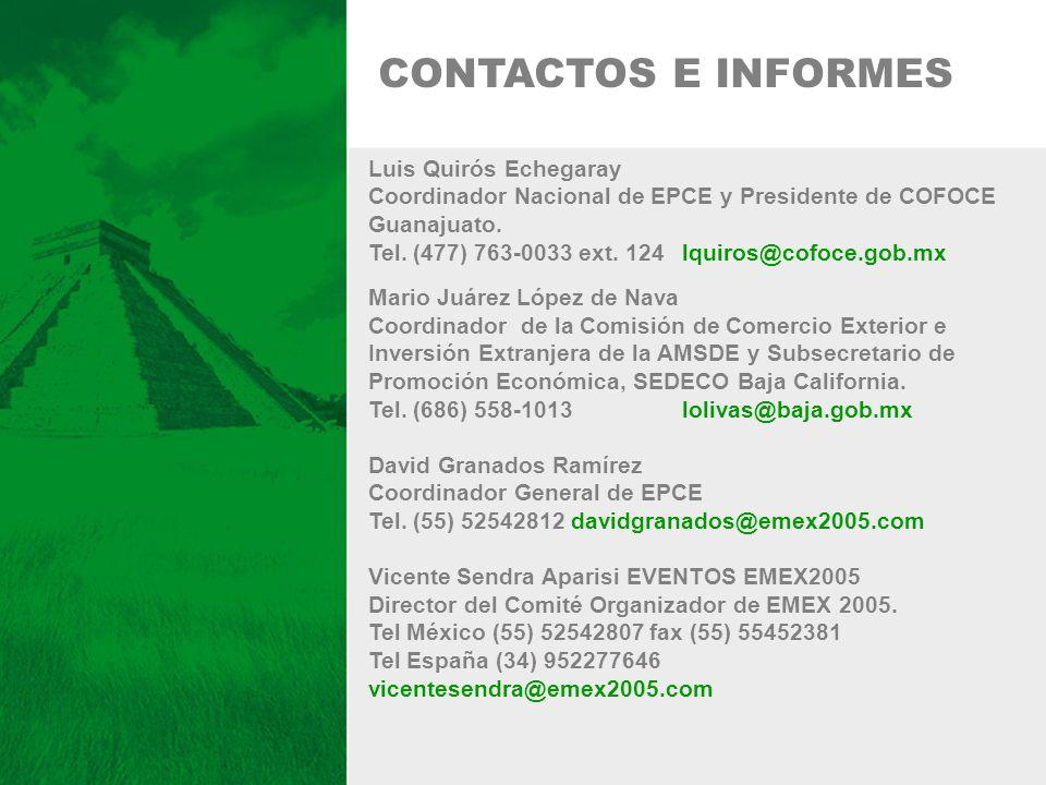 Luis Quirós Echegaray Coordinador Nacional de EPCE y Presidente de COFOCE Guanajuato. Tel. (477) 763-0033 ext. 124 lquiros@cofoce.gob.mx Mario Juárez