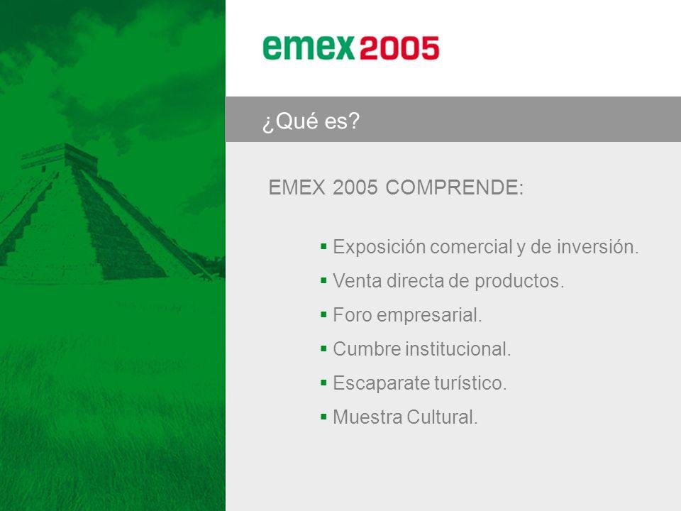 ¿Qué es? EMEX 2005 COMPRENDE: Exposición comercial y de inversión. Venta directa de productos. Foro empresarial. Cumbre institucional. Escaparate turí