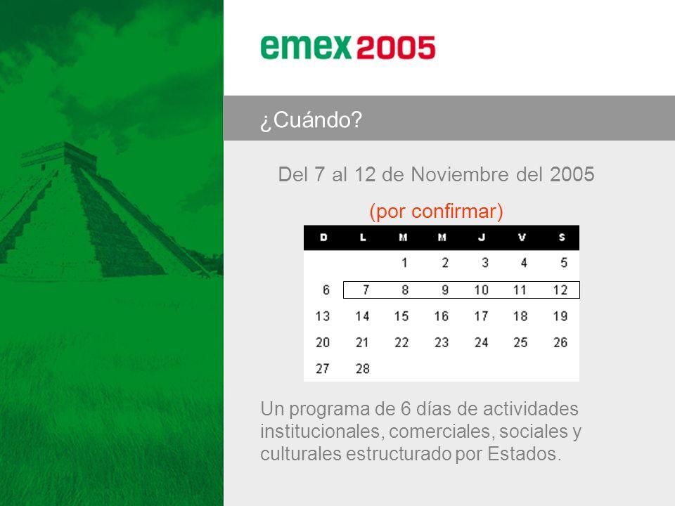 Del 7 al 12 de Noviembre del 2005 (por confirmar) ¿Cuándo? Un programa de 6 días de actividades institucionales, comerciales, sociales y culturales es