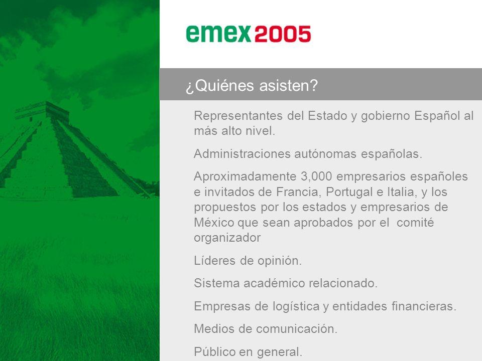 ¿Quiénes asisten? Representantes del Estado y gobierno Español al más alto nivel. Administraciones autónomas españolas. Aproximadamente 3,000 empresar