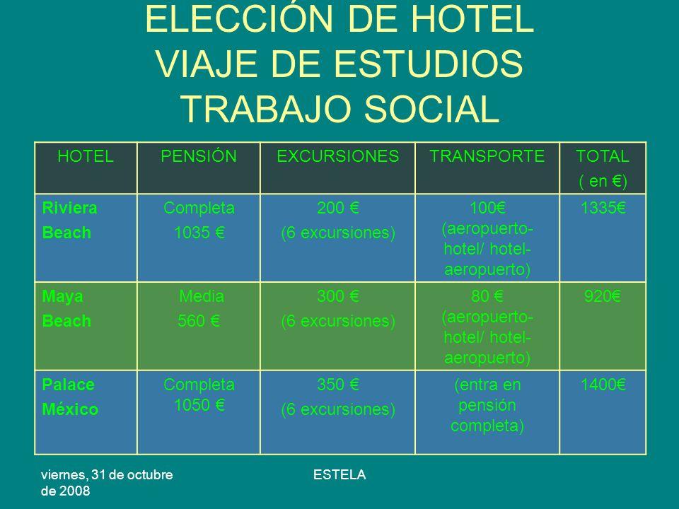 viernes, 31 de octubre de 2008 ESTELA ELECCIÓN DE HOTEL VIAJE DE ESTUDIOS TRABAJO SOCIAL HOTELPENSIÓNEXCURSIONESTRANSPORTETOTAL ( en ) Riviera Beach Completa 1035 200 (6 excursiones) 100 (aeropuerto- hotel/ hotel- aeropuerto) 1335 Maya Beach Media 560 300 (6 excursiones) 80 (aeropuerto- hotel/ hotel- aeropuerto) 920 Palace México Completa 1050 350 (6 excursiones) (entra en pensión completa) 1400