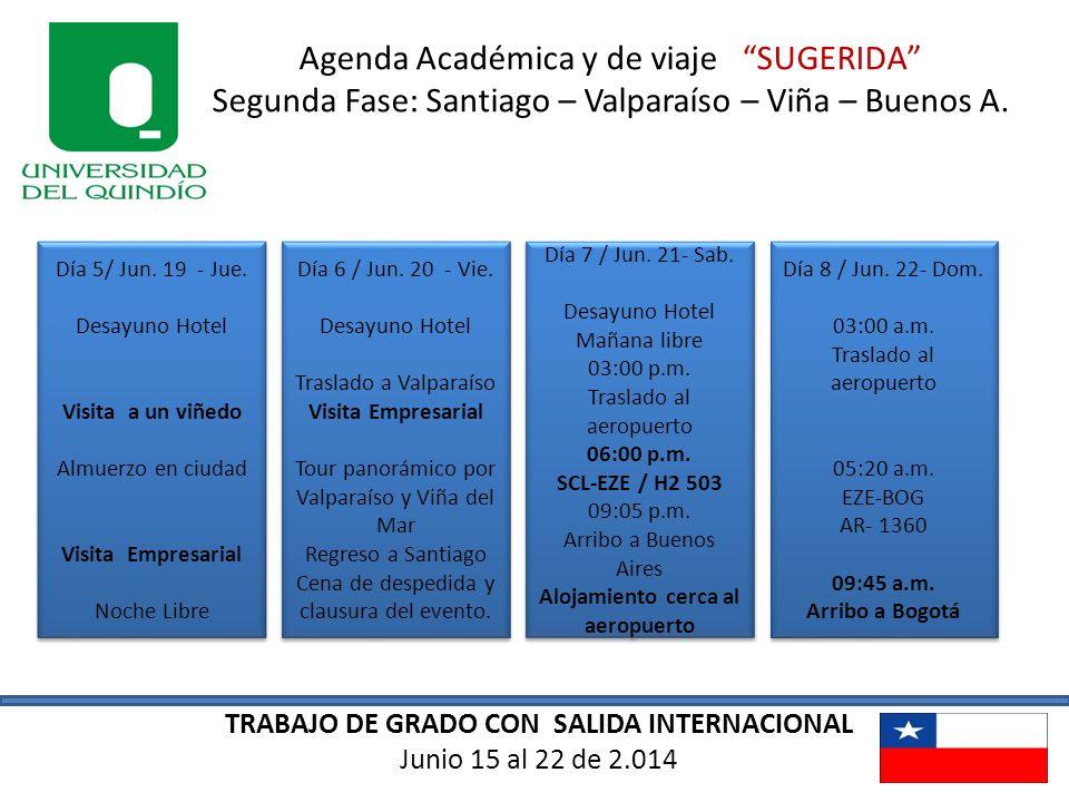 TRABAJO DE GRADO CON SALIDA INTERNACIONAL Junio 15 al 22 de 2.014 Agenda Académica y de viaje SUGERIDA Segunda Fase: Santiago – Valparaíso – Viña – Bu