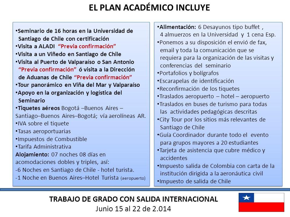 EL PLAN ACADÉMICO INCLUYE Seminario de 16 horas en la Universidad de Santiago de Chile con certificación Visita a ALADI Previa confirmación Visita a u