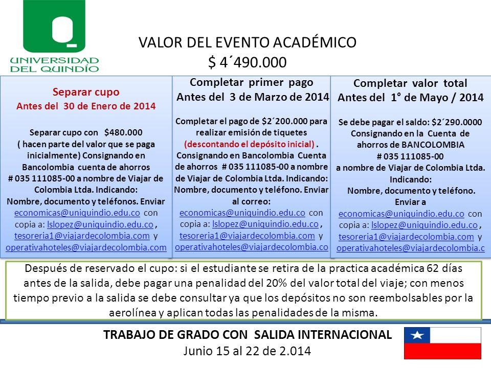 TRABAJO DE GRADO CON SALIDA INTERNACIONAL Junio 15 al 22 de 2.014 VALOR DEL EVENTO ACADÉMICO $ 4´490.000 Completar primer pago Antes del 3 de Marzo de