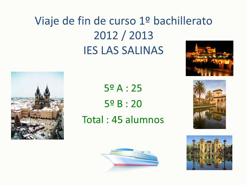 Viaje de fin de curso 1º bachillerato 2012 / 2013 IES LAS SALINAS 5º A : 25 5º B : 20 Total : 45 alumnos